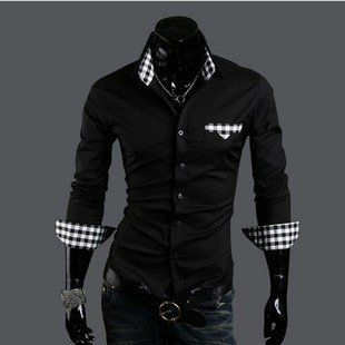 mens dress shirts black and white - Google Search