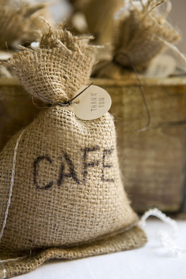 diy coffee bean burlap sack wedding favors, only .50 per favor :)