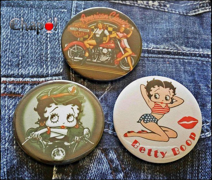 Chapas de Betty Boop y chicas Pinup. #chapó #chapaspersonalizadas #bettyboop #pinups