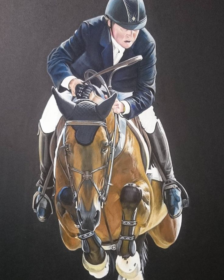 """Mi piace"": 65, commenti: 4 - Lindsay Hill (@lindsay_hill_artist) su Instagram: ""Literally just finished this of Nick Skelton and Big Star.  A first for me on black paper, but…"""