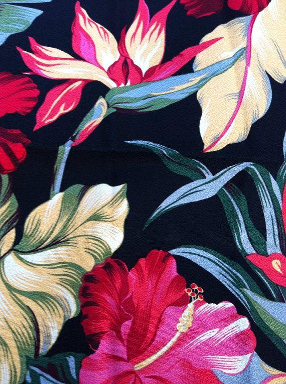 Vintage Hawaiian Print Barkcloth Napkins