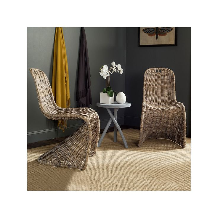 Safavieh Cilombo Wicker Dining Chair 2-piece Set, Natural