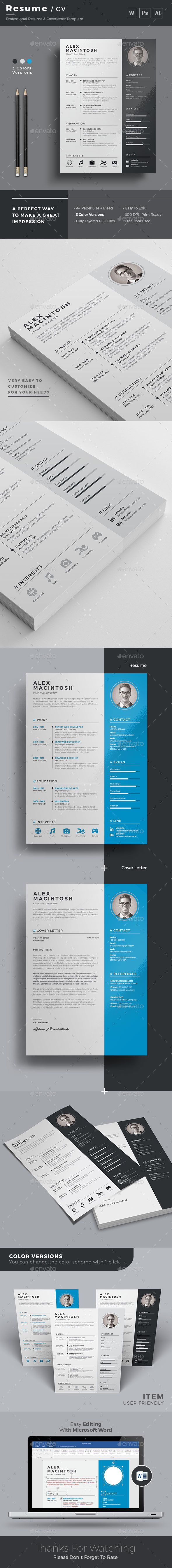 Cv Templates Design%0A Resume Template PSD  MS Word  Download here  http   graphicriver