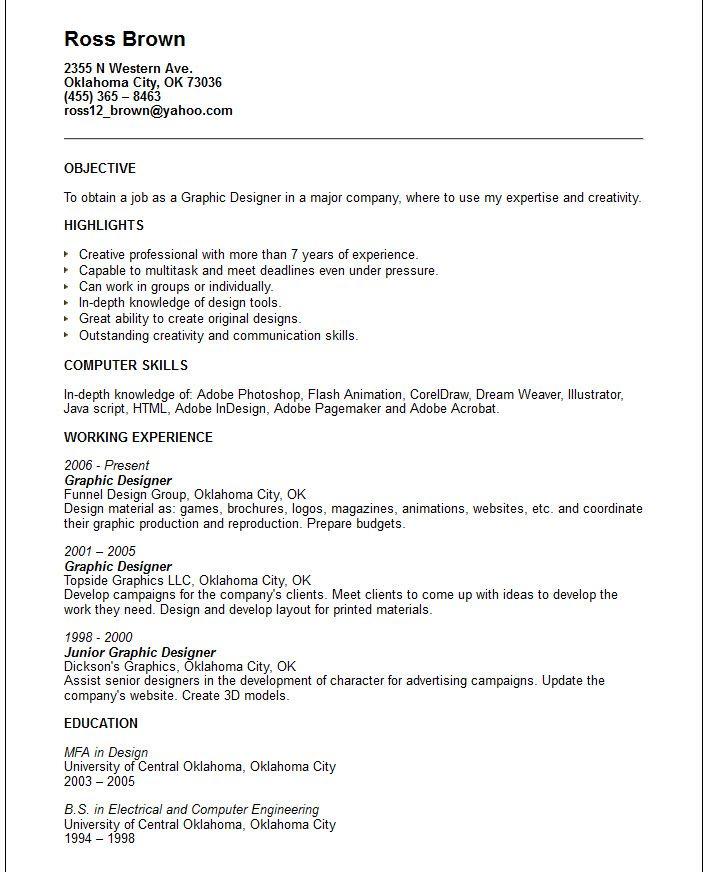 creative arts and graphic design resume examples sample designer word pdf