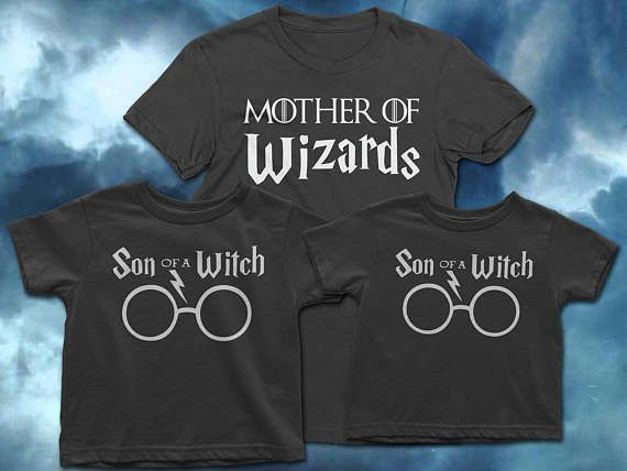 Harry Potter Mom, Mommy and sons shirts, Harry Potter Shirt Set, Mom and son shirt set, Mother of Dragons, Harry Potter Mothers Day gift  Are you a Mother of Wizards? Do you know a mom of Wizards? This funny shirt set is perfect for a Harry Potter fan who is a mom of boys!  This set includes a womans shirt imprinted with Mother of Muggles (Dual Fandom!) AND two(2) boys shirts imprinted with Son of a Witch  HOW TO ORDER: ------------------------ - Select the size for the womans shirt AND the…