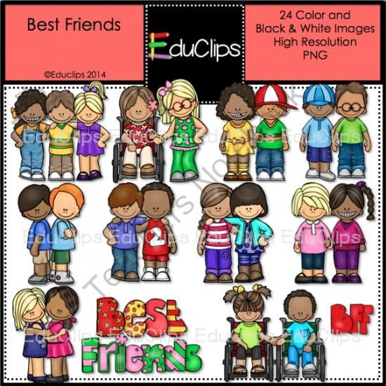 Best Friends Clip Art Bundle from Educlips on TeachersNotebook.com -  (24 pages)  - Best Friends Clip Art Bundle