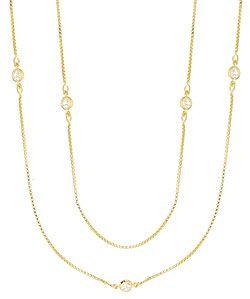 Gargantilha Tiffany Inspired folheada a ouro c/ zircônias (corrente longa s/ fecho)-Clique para maiores detalhes