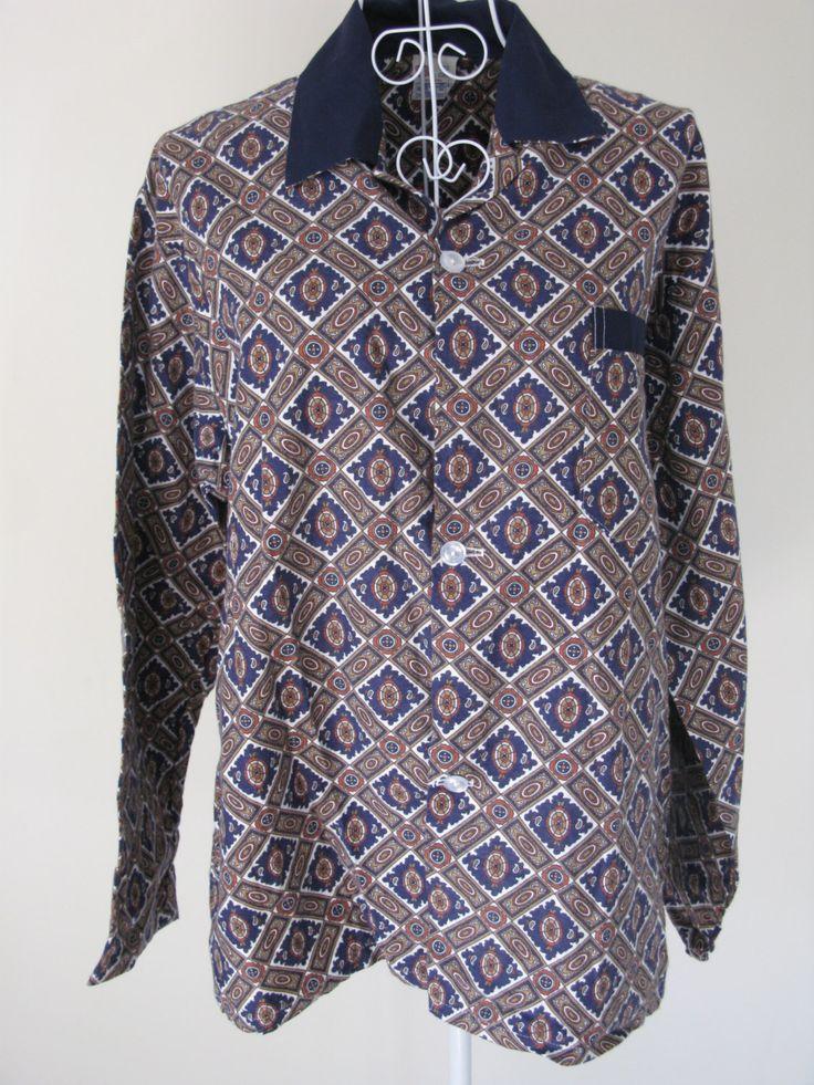 Mens Pyjama Set - Geometric Pyjamas - Vintage Pyjamas - Mens Pyjamas - Retro Pyjamas - Funky Pyjamas - Cotton Pyjamas - Large Pyjamas by MissieMooVintageRoom on Etsy
