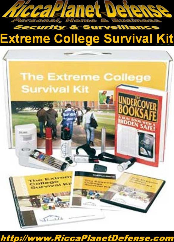 Extreme College Survival Kit! The SafeFamilyLife Extreme College Survival Kit combines our products with product instructional DVDs and manuals and new, extensively researched reports into special purpose kits. #College #Safe #Safety #Teen #Student #Protection  #Alarm #PepperSpray #DiversionSafe   #DoorStopAlarm