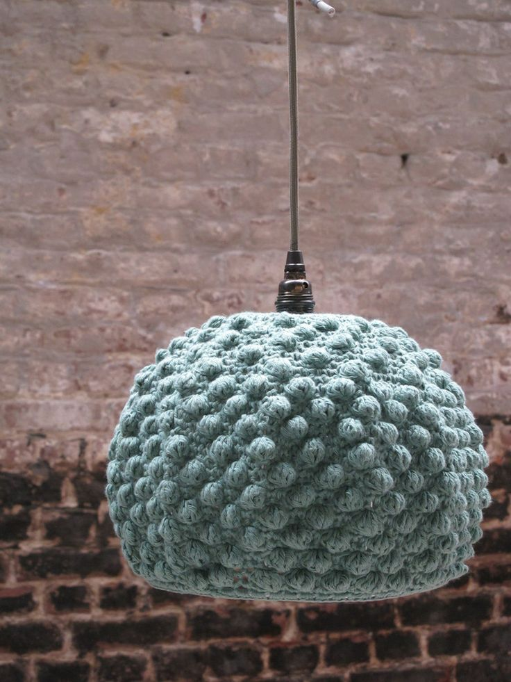 ceiling light handmade crochet cotton in a color mint and a pattern structure lampshade painted gray socket brass screw taupe textile cable - Abat Jour Color