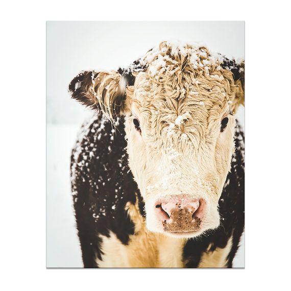 Franse boerderij koeien Winter Art boerderij Decor wintersneeuw warme Sepia bruin wit eenvoudige rustiek boerderij land, fijne kunst Print