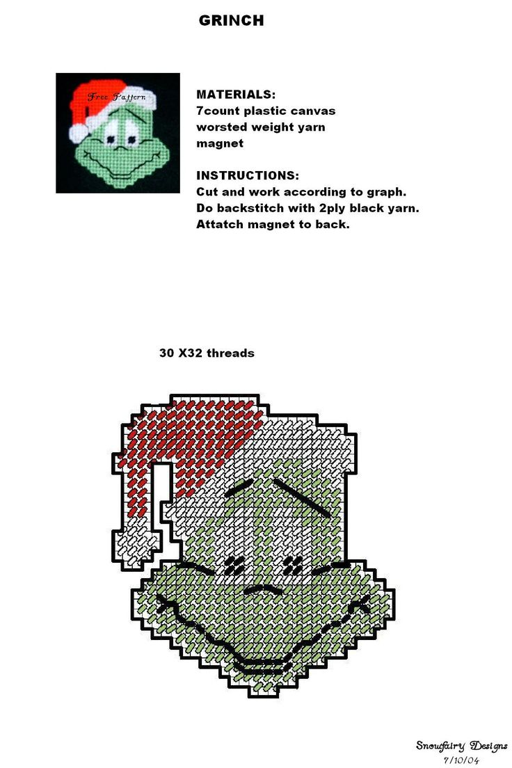 plastic canvas grinch magnet pattern. I bet I could do something with this in cross stitch