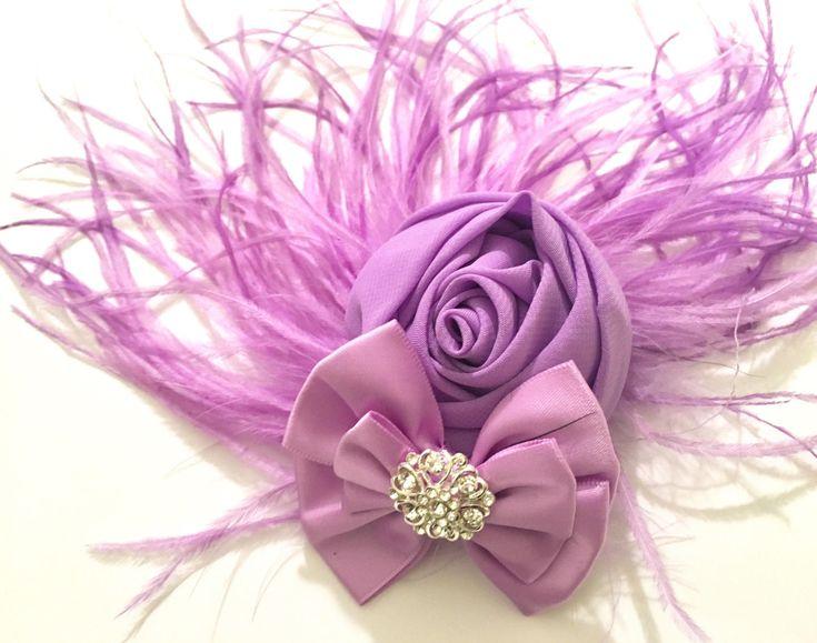 Lavender Flower Hair Fascinator, Bridal Wedding Hair Accessories, Lilac Flower Feather Vintage Rhinestone Hair Clip, Flower Girl Flower Clip by FancyGirlBoutiqueNYC on Etsy