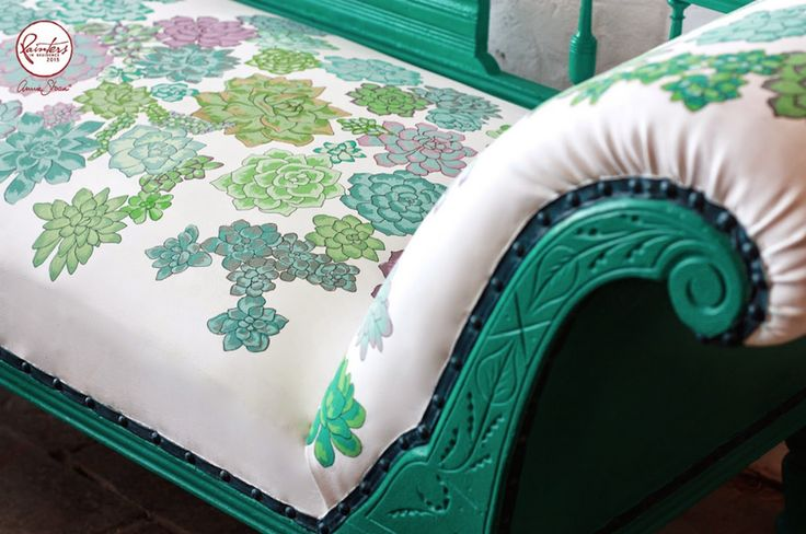 Abigail*Ryan our Northern Irish Painters in Residence painted succulents on this Victorian chaise longue. The creative couple painted the woodwork in Florence and the trim of the upholstery in Aubusson Blue. Abigail used a small artists' brush on the fabric – using colours directly from the pot, such as Henrietta and Emile, and mixing shades of green from Pure, Antibes, Florence and Provence. A black fine-liner pen outlines the plants.