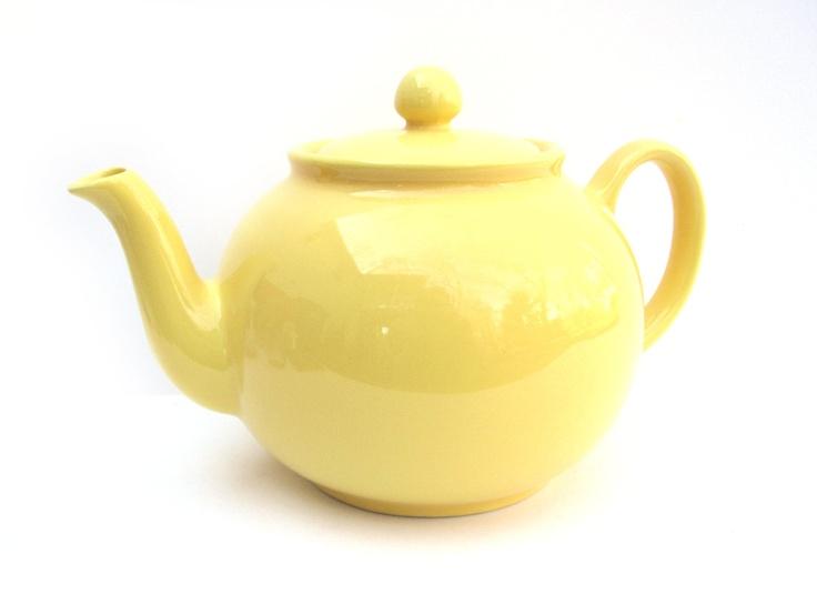vintage teapots | Vintage Yellow Teapot Marked Pristine Made by CarpeDiemTreasures