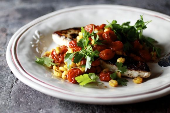 pan seared fresh local swordfish  cherry tomatoes, garlic, chili flakes, corn nuts  parsley garnish: Junk Food Challenge