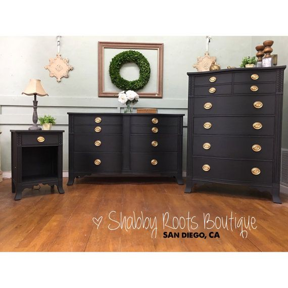 Items similar to SOLD- Black Vintage Bow front bedroom set by Drexel. Long Dresser, Tall Dresser & night stand! Graphite Black and gold on Etsy