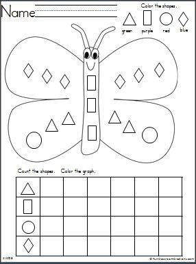 Students practice shape recognition and graphing with this free butterfly themed…