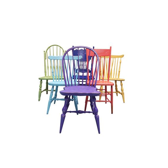 Mismatched Dining Chairs Custom Painted Chairs Single