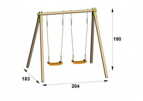 Portique en bois TRIGANO Natura 1,90 m. 2 enfants