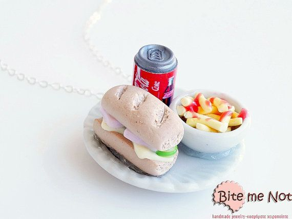 Mini Food Junk Food Plate Necklace Miniature Food by BiteMeNot