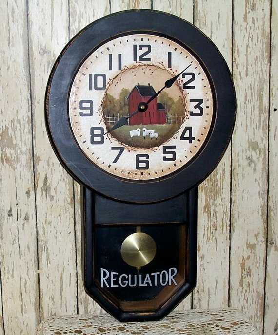 Pendulum Wall Clock Primitive Folk Art Home Decor By
