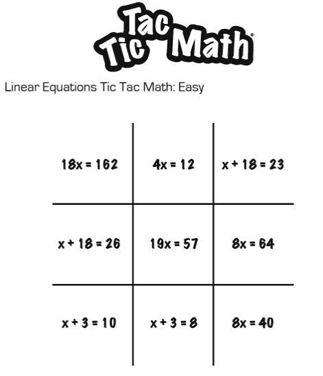 Use Math Questions with Tic Tac Toe | Math Worksheets, Activities ...