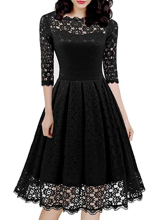 f9a3c54f6c443 Women's Vintage Full Lace Cocktail Party Casual A Line Swing Dress  Knee-Length Floral Evening