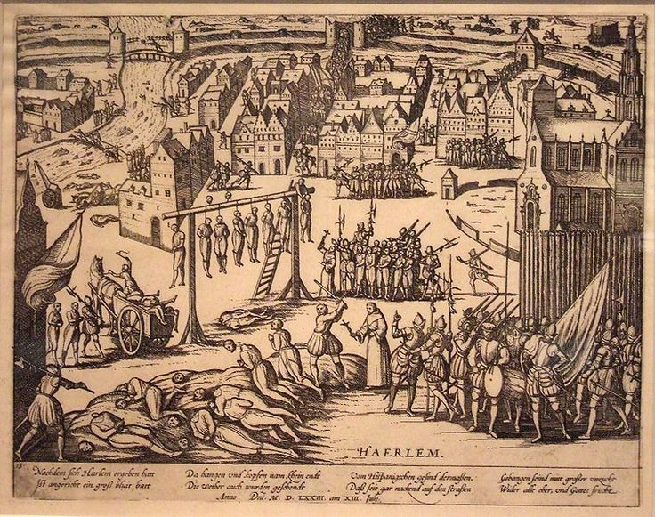 """Eighty Years' War (Dutch War of Independence, 1568–1648) - """"Beleg van Haarlem,"""" a Dutch propaganda engraving of 1573, shows mass hangings and beheadings, and cartloads of bodies flung in the river. By Frans Hogenberg (1540–1590)"""