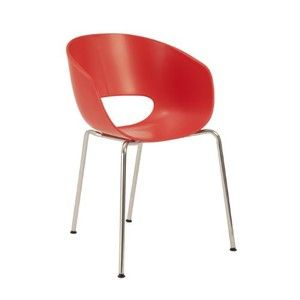 Euro Style Michele Side Chair, Red/Orange/Chrome, Set of 2
