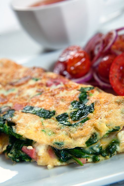 Feta Cheese, Bacon and Spinach Omelette. Full recipe here: http://celebrityslim.com.au/recipes/brekkie/feta-cheese-bacon-and-spinach-omelette