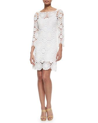 Summertime 3/4-Sleeve Lace Dress by Trina Turk at Neiman Marcus.