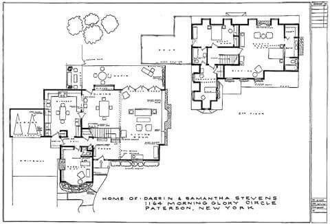 Floor plan of home for Darrin and Samantha Stevens from
