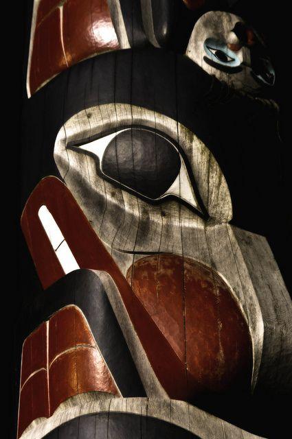 Haida totem pole on Haida Gwaii, British Columbia Canada