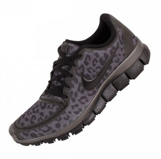 Price Womens Nike Free 5.0 V4 Leopard Running Black Shoes UK Cheap
