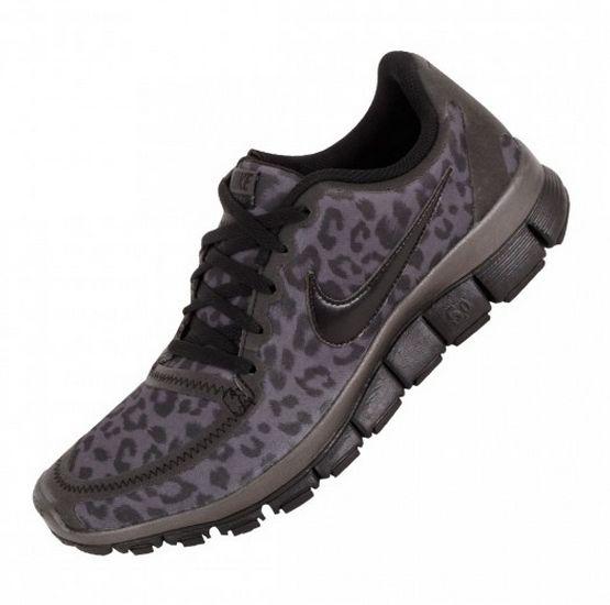 Price Womens Nike Free 5.0 V4 Leopard Running Black Shoes UK Cheap