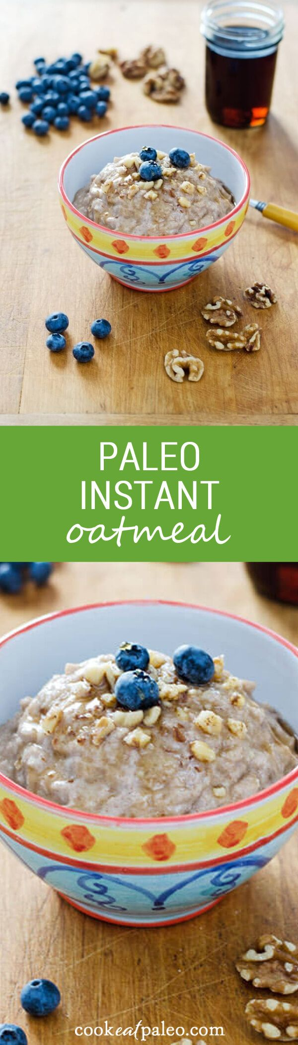 """Paleo """"instant oatmeal"""" recipe — 1 bowl, 5 ingredients, 5 minutes. It's gluten-free, grain-free, dairy-free, and refined sugar-free."""