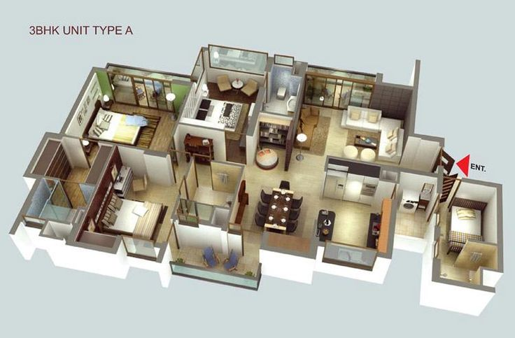 Luxury apartment 3d house plans floor plans for Apartment design plans 3d