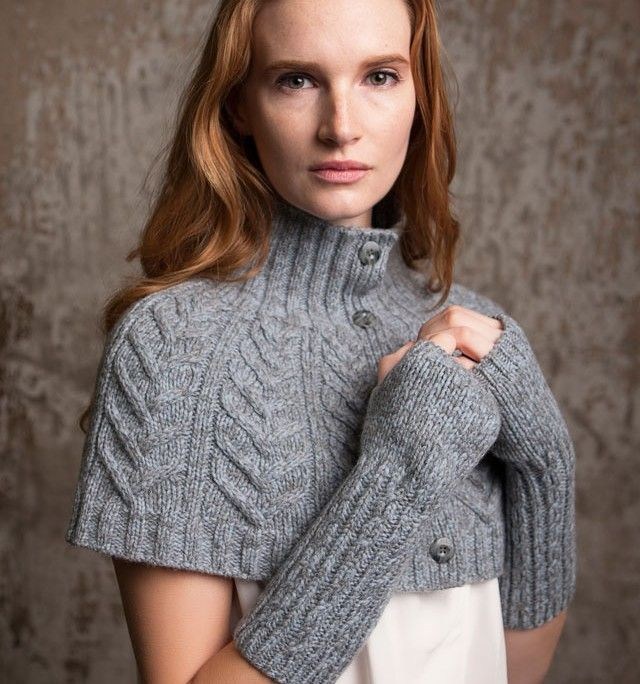 Cabled Capelet 100% extrafine merino wool ladies knitwear made in Ireland