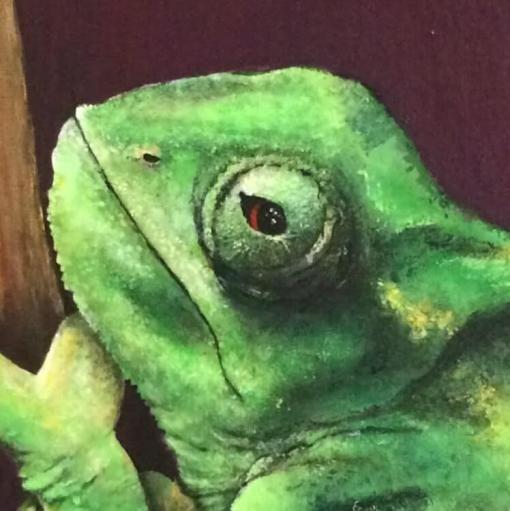 Veilled chameleon (kameleon) | detail van schilderij | Ambacht en Design