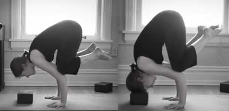 Crow to headstand prep with block