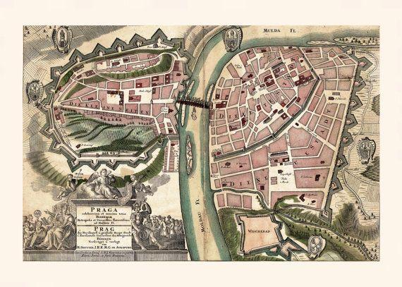 ANTIQUE PRAGUE MAP Map of Prague by EncorePrintSociety on Etsy