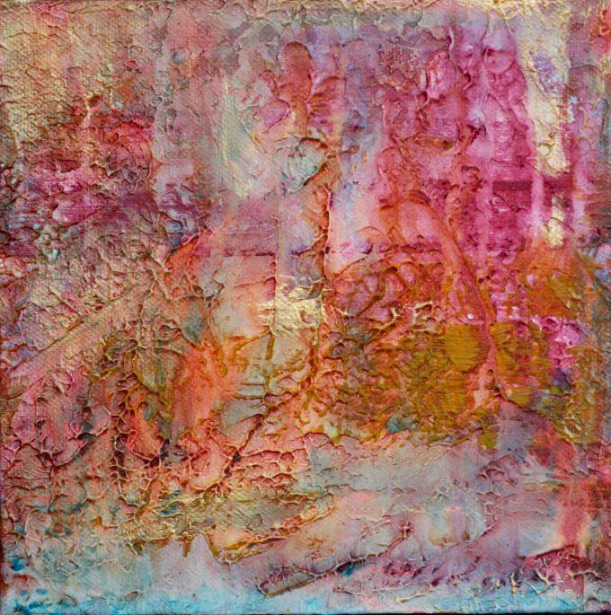 'fire on water', acrylic on canvas, artist Ifigenia Christodoulidou
