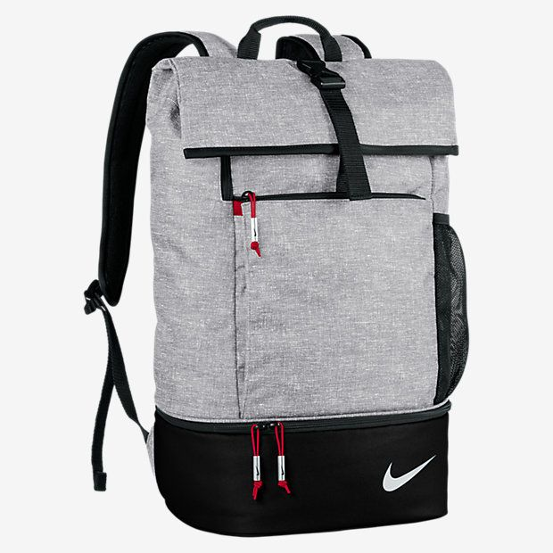 SECURE, ORGANIZED STORAGE. The Nike Sport Backpack features a fold-over top with buckle closure and multiple accessory pockets to keep your gear secure and organized when you're on the move. A zip shoe compartment stores your footwear separate from your other items. Benefits Lightweight design and adjustable straps for comfortable carrying Large main compartment with magazine sleeve provides ample storage Fold-over top with buckle closure secures belongings Multiple accessory pockets for…