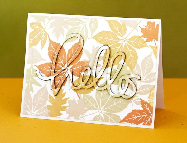 A Gorgeous Fall Hello by Jennifer McGuire using Simon Says Stamps Big Hello Die and Hero Arts Scattering Leaves Stamps.  September 2013
