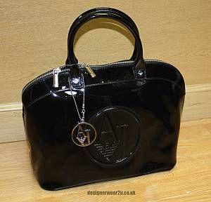 Armani Jeans Patent Bowling Bag with Large AJ Logo Black - Accessories from DesignerWear2U UK