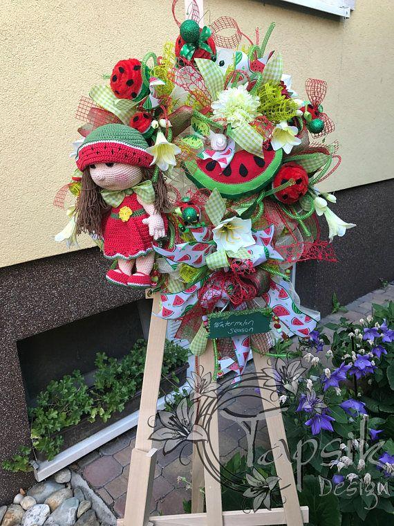 Watermelon Wreath Summer Wreath Summer Deco Mesh Wreath