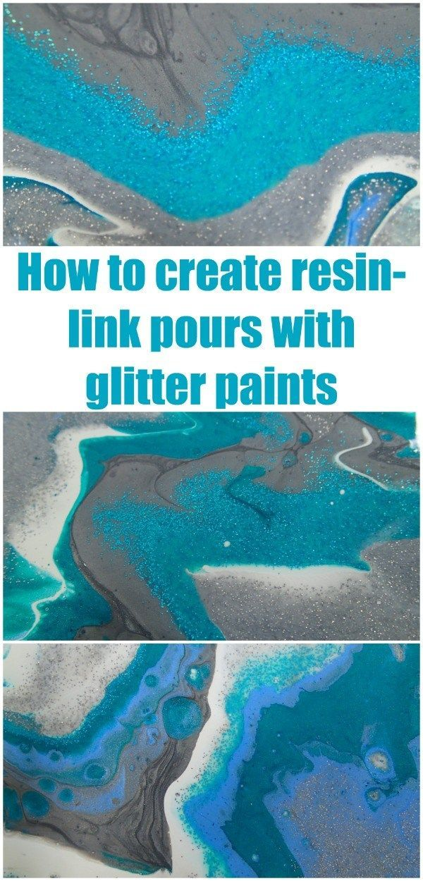 How to create resin like acrylic pours using metallic and glitter paints for a vibrant and sparkly 3d effect acrylic painting. Acrylic pouring video tutorial #GlitterPaint