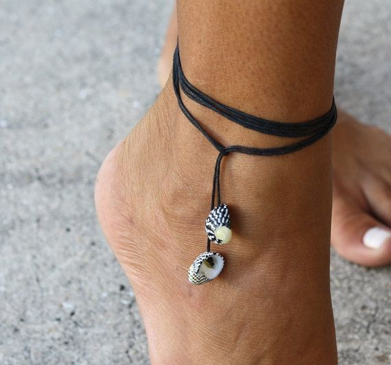 Zebra Seashell Multi-use Black String Jewelry - Anklet , Bracelet and Necklace - Summer, beach, surf, SUP style.
