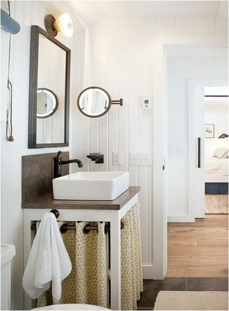 I love the curtains under the sink!! Beautiful Bathroom Ideas - The Cottage Market